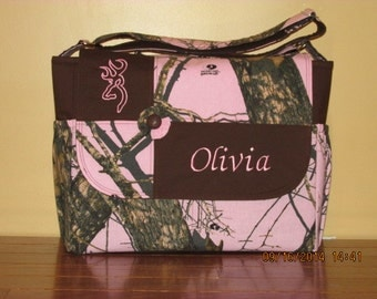 Mossy Oak Pink Camo Diaper Bag With Free Emboidery!