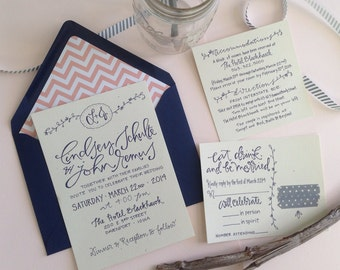Custom Calligraphy Wedding Invitation / Hand Lettered Wedding Invitation / Sinple Wedding Invitation / Garden Wedding Invitations