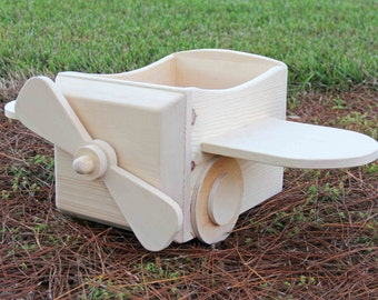 Unpainted Small Wooden Airplane Photography Prop