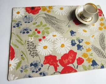 Linen poppies placemats, linen placemats, table placemat, table mat, dinning placemats, placemats set, Eastern placemat, Wedding placemats