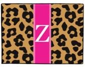 Personalized Leopard Look Door Mat Monogrammed Doormat Floor Rug Front Door Welcome Mat Indoor Outdoor