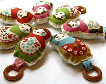 Teething russian dolls matrioshka wood ring toy - choose one