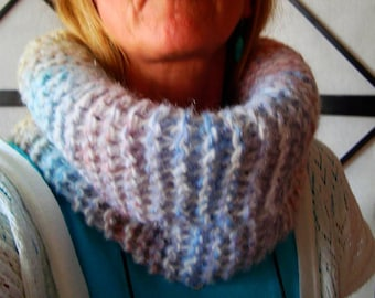 Handmade chunky cowl, Warm, Soft, Thick, Neck Warmer, Scarf, knitted, multicolor, melange, by Wcards