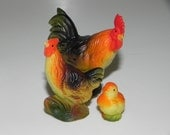 Miniature Rooster Chicken Chick Collectible Figurine Craft Project Supply Shadowbox Dollhouse