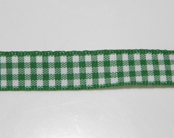 "Green Gingham Decorative Ribbon 1/2"" Width Trim Spring Bows Scrapbook 1 Yard"