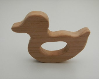 Duck natural wood toy baby toddler teething green eco-friendly shower gift  untreated wooden teether