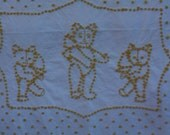 SALE>>>Vintage Chenille Baby, Crib Blanket, Coverlet....Three Bears, White, Yellow, Dots