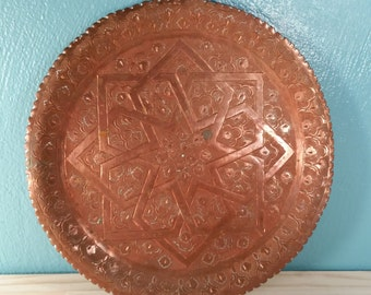 Heavy Etched Copper Plate - Star Design