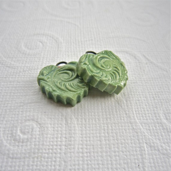 Handmade ceramic earring charms, erthenware heart charms - 1 PAIR