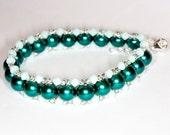 Handmade bracelet Handmade glass pearl bracelet Handmade Swarovski bracelet Handmade teal bracelet Handmade teal jewelry Handmade beaded