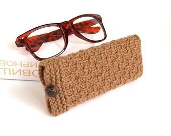 SALE - 50% OFF. Light Brown Glasses Case, Reading Glasses Cozy, Eyeglasses or Sunglasses Holder. Gift For Men.