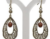 Antique brass and brown filigree earrings