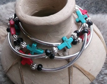 Chunky western four strand  red and turquoise magnesite cross and silver plated tube bracelet