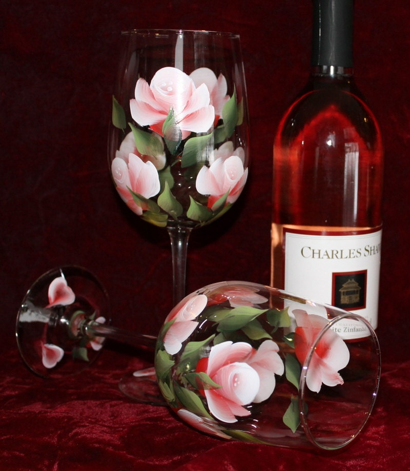 Hand painted wine glasses set of 2 red pink roses for Painted wine glasses