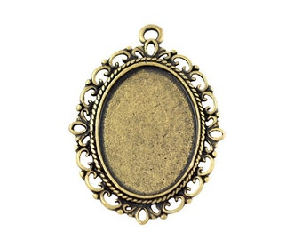 5 pcs Oval Setting Antique Brass  - Fits18x25mm Cabochons, Cameos or Stones (18 x 25 mm) - Victorian Style