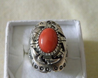 Rugged Native American Coral Sterling Silver Overlay Ring - Size 7 1/4 U.S.