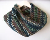 Women's Crochet Infinity Scarf in Brown, Green and Black