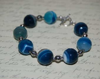 Natural Blue Faced  Agate  Stone Bracelet