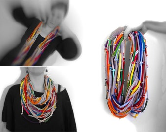 Upcycled multicolor long infinity scarf/Recycled/ Woman's necklace/Handmade colorful/Repurposed material/Soft/Eco friendly/Jersey stripes