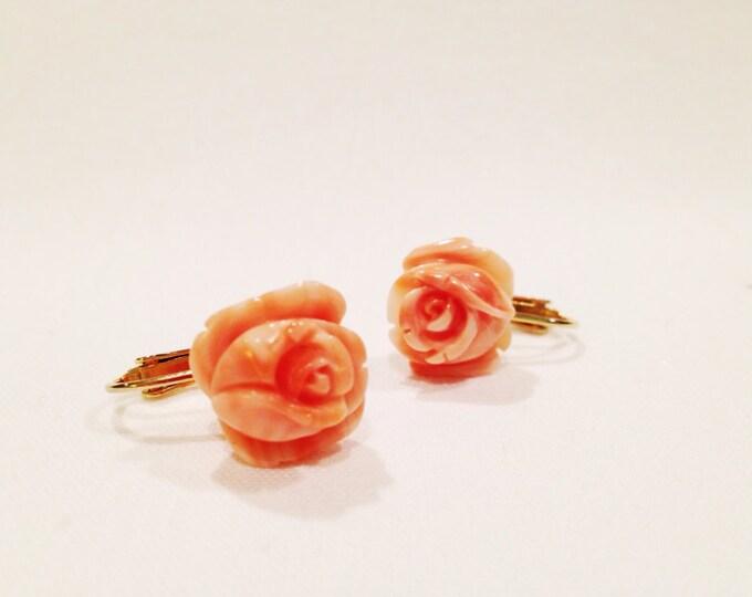 Vintage 30s Polished Coral Rose Screw Back Earrings