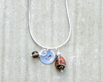 Good Luck Necklace - Sterling Silver with Cloisonne Ladybug and Smoky Quartz