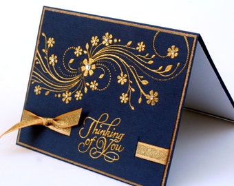 Thinking of you embossed card, navy blue, gold, flowers swirls blank card