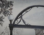 UGA Arch Light Original Mixed Media - Painting and Pen and Ink Framed - Introductory SALE price