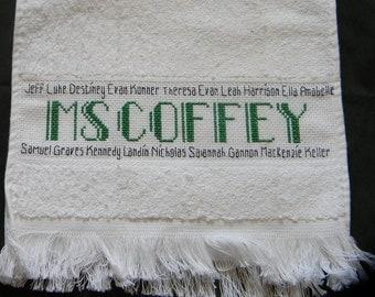 Custom Towel - Personalized Gift - Cross Stitch Towel - Teacher Gift