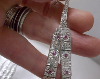 Art Deco 1920's Inspired Ruby Long Duster Dangle Pierced Earrings in Sterling Silver/ The Look of White Gold, Platinum/Chic