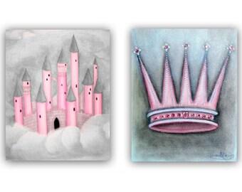 Princess Wall Art, Pink Grey, Nursery prints, Castle & Crown, Princess Nursery, Girls room Decor, Princess Decor, Baby girl nursery