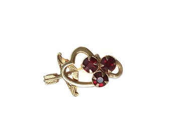Vintage Cupid's Bow and Arrow Heart Brooch Pin Gold Tone Valentines Red Rhinestones