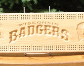 Wisconsin Badgers Cribbage Board Made From Solid Oak