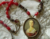 SALE use coupon code Spring10 for 10% OFF Assemblage Necklace Portrait of a Lady II Red Jade