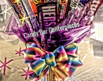 Chocolate Bar Candy Bouquet  Centerpiece, Candy Buffet Decor, Candy Arrangement Wedding, Mitzvah, Party Favor, Candy Creation