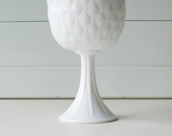 Milk Glass Compote, Indiana Glass, Quilted Diamond Pattern, Tall Pedestal Bowl