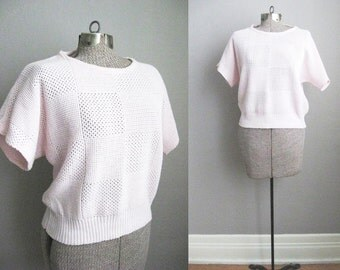 1970s Vintage Sweater Pink Top Checkered Slouchy Sweater / Medium