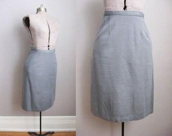 1960s Skirt Grey Pencil Skirt 60s Vintage Jersey Knit / Small Medium
