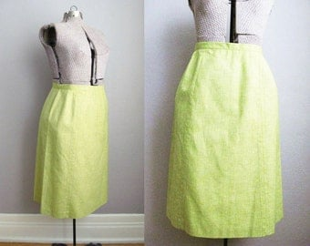 1970s Pencil Skirt Celery Green Skirt Brown Top Stitching / Large
