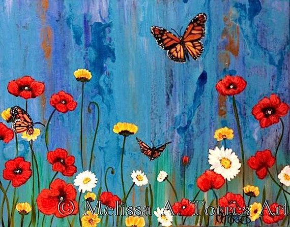 Flowers and Butterflies acrylic painting