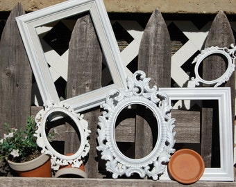 Shabby Chic PICTURE FRAMES - Empty Frames - Vintage Frame Set - Ornate Picture Frames