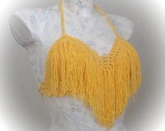 Yellow Crochet Hippie Fringe Halter Top-Crochet tank top - Summer- Bandeau Top