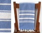 Bad Handtuch handgewebte Baumwolle Türkisch Strand Handtuch wickeln Spa Travel Handtuch türkische Baumwollhandtücher Decke Creme blau ADMIRAL PESTEMAL