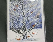 Christmas Holiday Card of Snow Covered Tree Little Birds Feeding