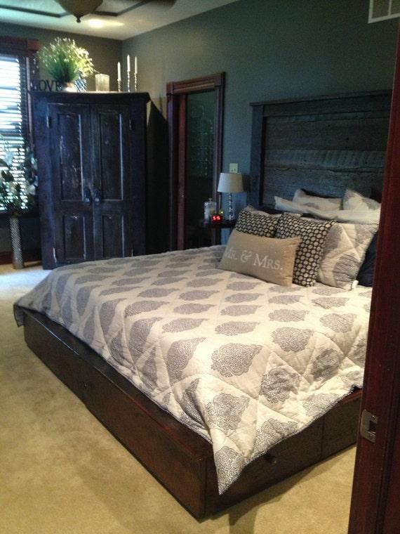 king platform bed barn wood. Black Bedroom Furniture Sets. Home Design Ideas