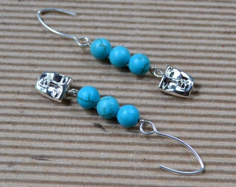 Turquoise Howlite Dangle Earrings Boho Chic Silver Face Beads Drop Fashion Earwires Jewelry Matching Bracelet Paisley Beading Free Shipping