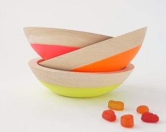 """Wooden Snack Bowl, 6"""" Set of 3, Neon Colors, Kids"""