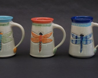 Dazzling Dragonfly Mug, Hand made, Arts and Crafts Mission Style