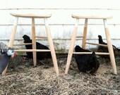 Bleached oak 3-legged stool