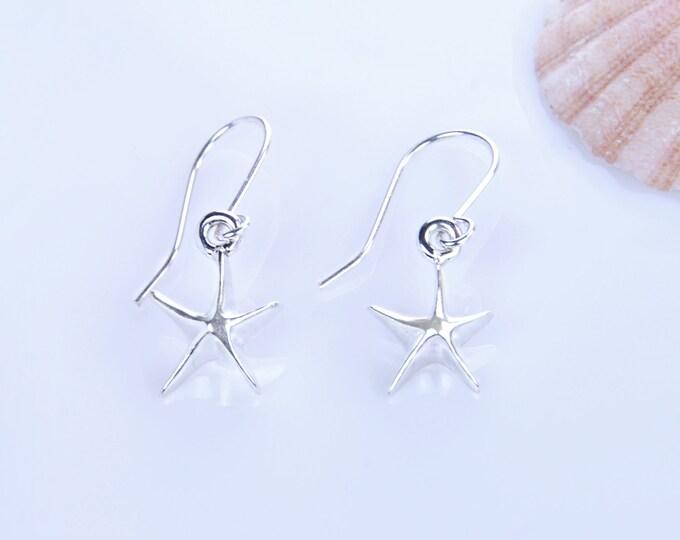 Starfish  Earrings, Hooks Starfish Earrings, Beach Wedding Earrings, Starfish Silver Earrings, Starfish Jewelry, Sea Lovers Earrings, Hooks