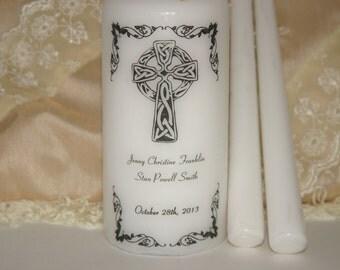 Wedding Ceremony Candle, Celtic Unity Wedding Candles, Celtic Cross, Irish Unity Candle Set, Custom Unity Candle, Marriage Candle